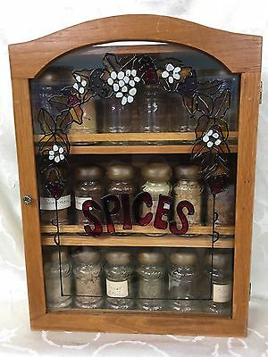 Wood 3 Tiered Shelf Spice Rack With Doors & 18 VTG Glass Spice Jars RARE
