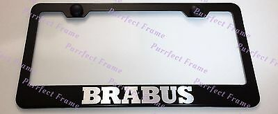 BRABUS GmbH Germany LASER Style Black Stainless Steel License Plate Frame W/Caps