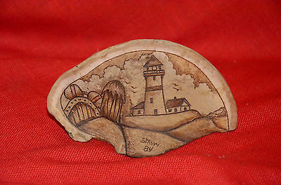 Lichen Scrimshaw Etching Lighthouse - Shaw 84