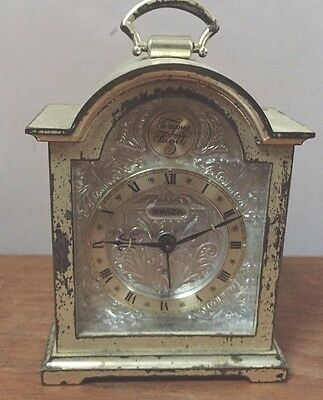 "Swiss Made Swiza Silvered Case Timepiece Mantle Clock GWO 4""H 3""W 1.5""D"