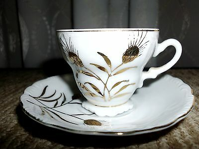 Lovely Vintage demi cup and saucer white with gold wheat design blue JAPAN label