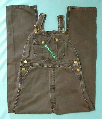 KEY Brown Overalls Sz 14 Heavyweight Denim Pants Bibs Girls Boys