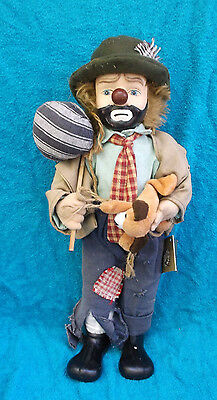 """The Broadway Collection Hobo Clown Porcelain Bisque Doll Figurine 19"""""""