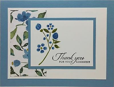 Stampin' Up Handmade Thank You Card Blue Flowers Combined Shipping