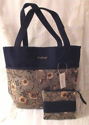 Longaberger Khaki Floral Tote Bag Double Handles And Zippered Coin Case New Tag