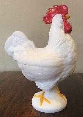 Vintage WESTMORLAND Milk Glass ROOSTER ON NEST Covered Candy Dish Chicken Hen!
