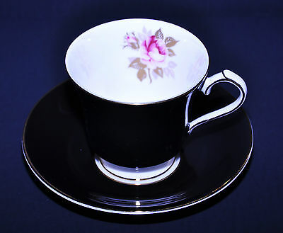 Aynsley Dramatic Black & Rose Tea Cup Saucer Set Match Royal  Albert  Senorita