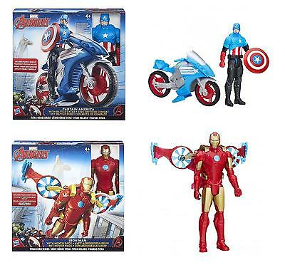 "Marvel Avengers 12"" Inch Action Figure & Vehicle (Captain America/Iron Man)"