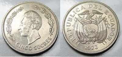 Ecuador Rare 5 Sucres 1973 B.u. Condition