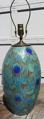 Exceptional Large Vintage Art Pottery Mid Century Modern Hand Painted Table Lamp