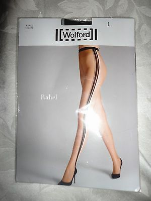 Wolford RAHEL tights $67 new BLACK STRIPES size large L pantyhose