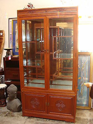 Vintage Chinese Rosewood Display Cabinet Etagere Lighted & Mirror