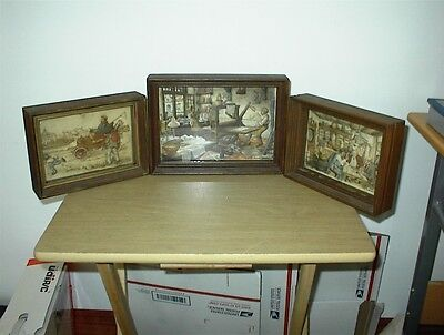 3 ORIGINAL Anton Pieck Art Shadow box 3D layered paper, framed, vintage