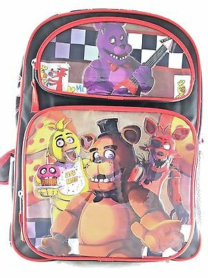 Five Nights at Freddys Large Backpack 16in Boys School Book Bag -Black Red