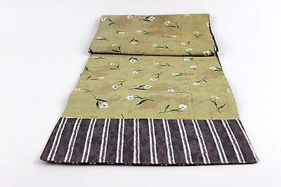 Table Runner Tan And Purple With White Flowers 71 Inches