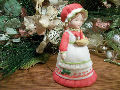Hollie Hobbie Figurine Bell The Warmth Of Christmas VTG Collectible Porcelain