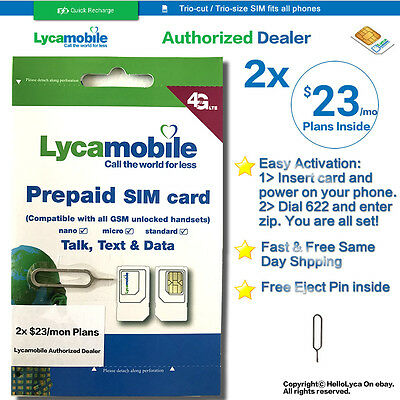 Lycamobile $23x2 Months Plan PreLoaded 3in1 SIM Card 1GB 4G Unlimited Talk  Text