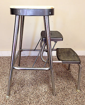 Vintage Step Stool Ames Maid Metal Industrial Kitchen Chair Mid Century White