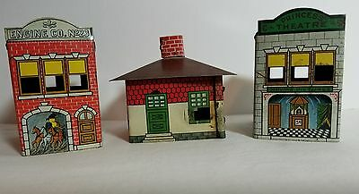 Vintage Tin  Candy Containers 3 Buildings