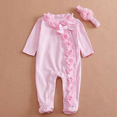 Long Sleeve Newborn Baby Girls Romper Jumpsuit Headband Clothes Outfits Set