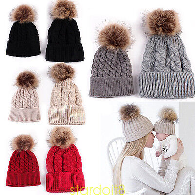 2pcs Winter Hats Mother+Baby Knit Pom Bobble Hat Kids Girl Boys Cups Baby Hat