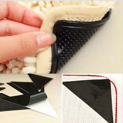 Rug Carpet Mat Grippers Anti-Slip Reusable Washable Silicone Grip Supplies 4pcs