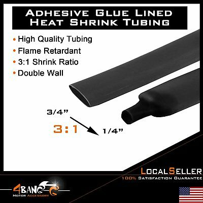 Double Wall Heat Shrink Tubing Adhesive Glue Lined Tubes 20 Foot Lengths 3/4""