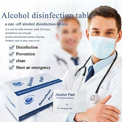 100pcs/box Universal Alcohol Pads for Disinfection Use Outdoor First Aid AU