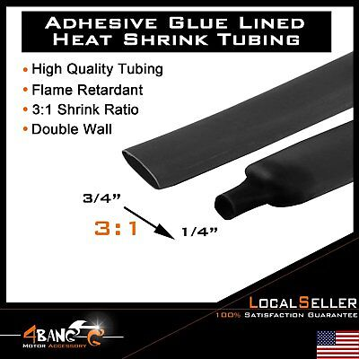 """40FT. 480"""" BLACK 3/4"""" 19mm 3:1 Heat Shrink Tubing Tube Cable Double-Wall"""