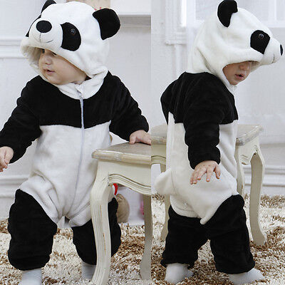Baby Boy Girl Kids Warm Winter Panda Animal Overall Thicken Romper Clothes 0-3Y