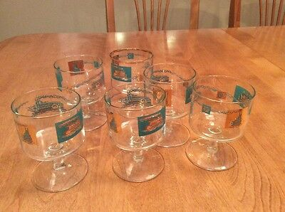 Vintage Libbey Paddleboat glasses Set of 6, gold and green pattern.