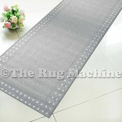 SUMMER INDOOR/OUTDOOR BORDER SILVER MODERN FLOOR RUG RUNNER 60x230cm **NEW**