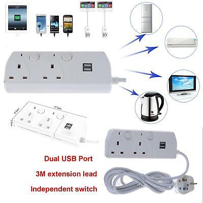 2 Way 3M Extension Lead With 2 Usb Port Portable Socket Surge Protected Lead Uk