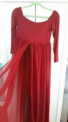 2c6d196289a off shoulder sheer burgundy maternity gown with slit down the middle size  medium