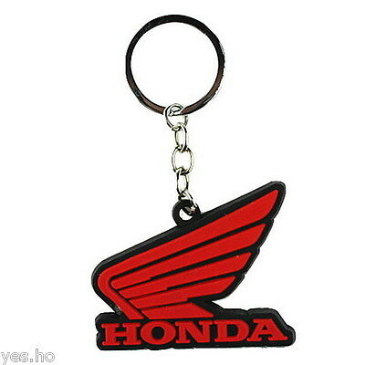 Honda Wing Motorcycles Keyring Keychain Logo Rubber Racing Sports - Red