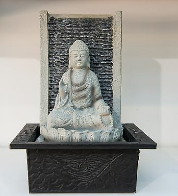 Outdoor Garden Patio Water Feature Sitting Buddha Fountain Grey Black