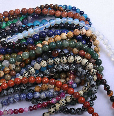 Wholesale Lots of Natural Gemstone Round Spacer DIY Loose Beads 4/6/8/10/12mm