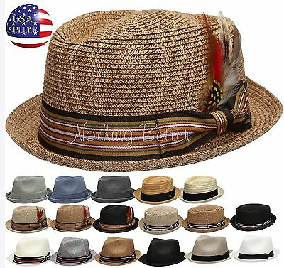Summer Women Men Straw Pork Pie Fedora with Stripe Or Solid Band Feather Hat