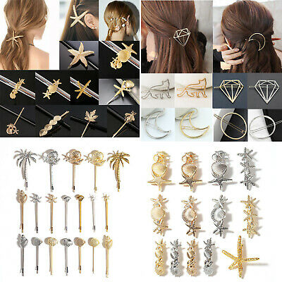 Beauty Gold Silver Hollow Geometric Metal Hairpin Hair Clip Hair Accessories