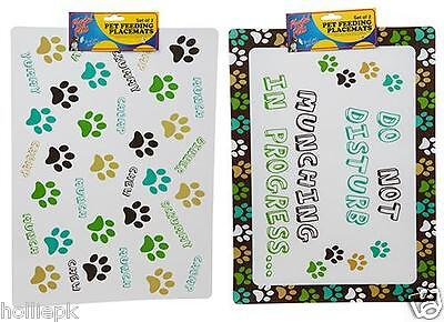 Cat Dog Pet Feeding Place Mat 2 Pack For Food & Water Bowls To Sit On Paw Print