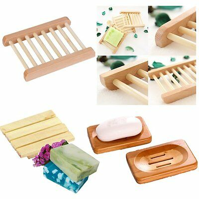 Wood Wooden Soap Dish Storage Tray Holder Soap Box Bath Shower Plate Bathroom CO