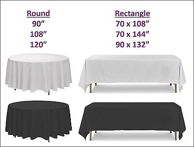 White Black Polyester Tablecloth Cover Round Rectangle Wedding Party Banquet