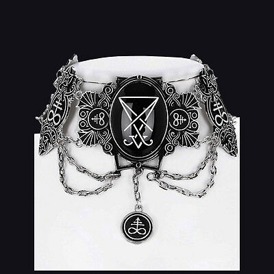 Restyle Silver Lucifer Choker. Antique Style. Victorian Gothic. Lucifer Sigil