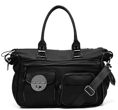 Mimco Lucid Baby Nappy Bag Black Nylon LARGE Duffle Weekender AUTHENTIC gunmetal