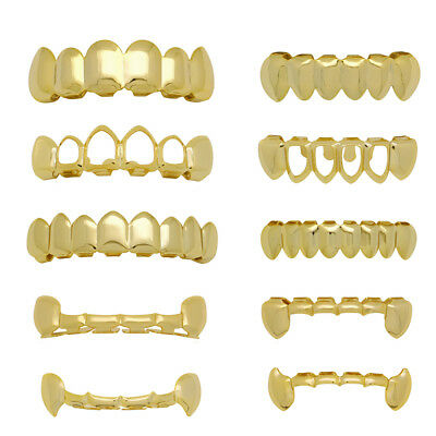 14k Gold Vampire Fangs Grillz 6 Top and 6 Bottom 8 Teeth Combo