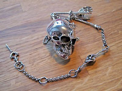 Quality Sterling Silver Anatomical Skull Box Case Vesta On Albert Watch Chain