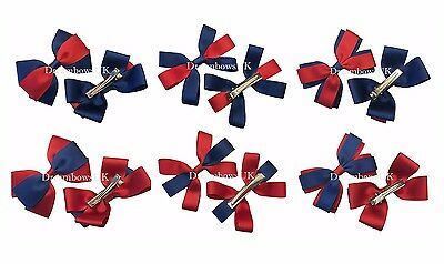 Navy blue and red school hair bows on clips or bobbles, school hair accessories