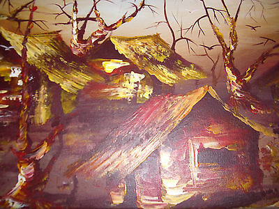 IMPRESSIONIST AFRICAN STYLE, Abstract Oil Hand Painting On Canvas Signed FRAMED