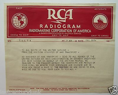 RCA Radiogram Dec 25th To Ships Of The United Nations From Minister Of War Trans