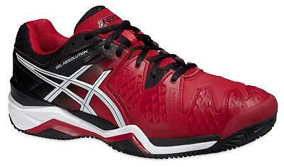 Asics GEL-Resolution 6 Tennis Shoes (Clay) Fiery Red/Black/White Mens US8.5